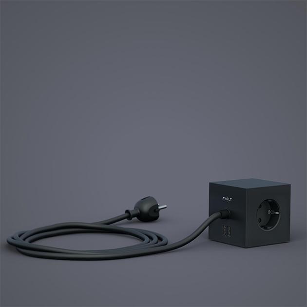 Square 1 – Mehrfachsteckdose mit USB Anschlüssen von Avolt