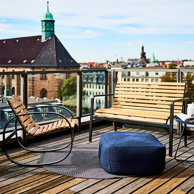 Komfortabler Outdoor Schaukelstuhl von Cane-line, raffiniert gestaltet
